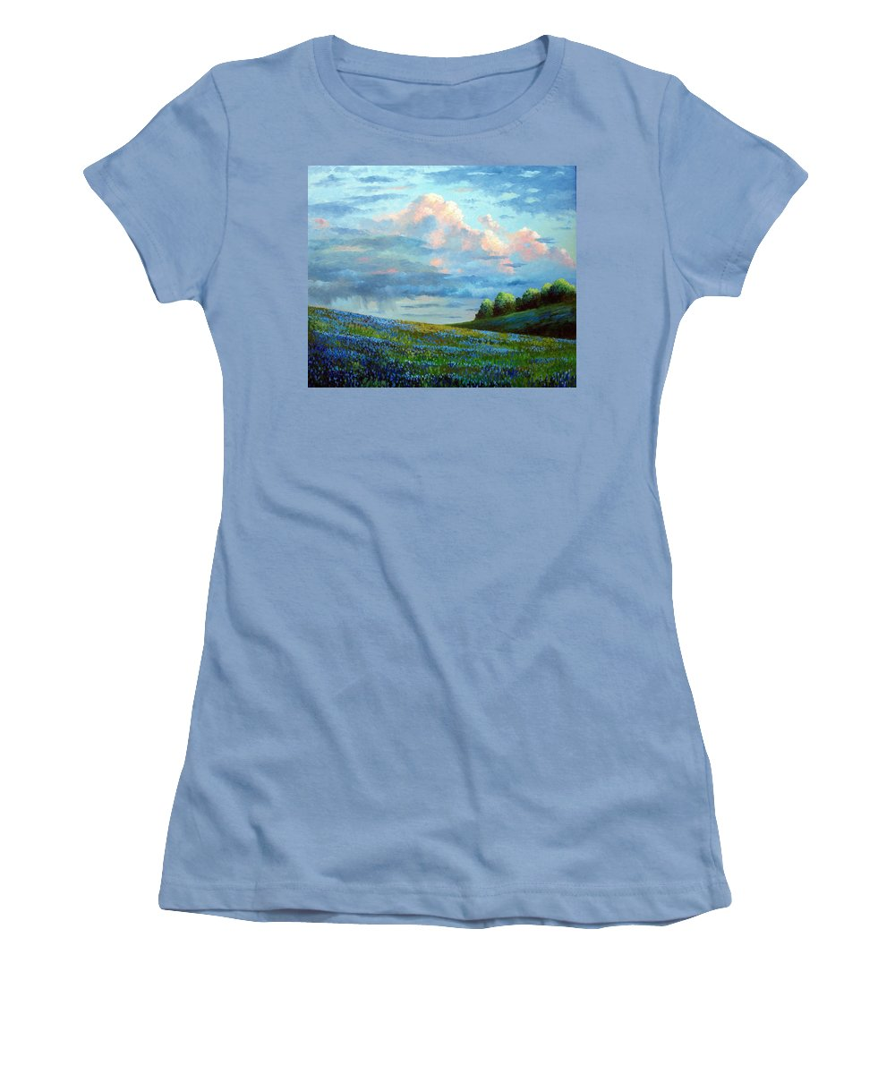 Landscape Women's T-Shirt (Athletic Fit) featuring the painting Evening Rain by David G Paul