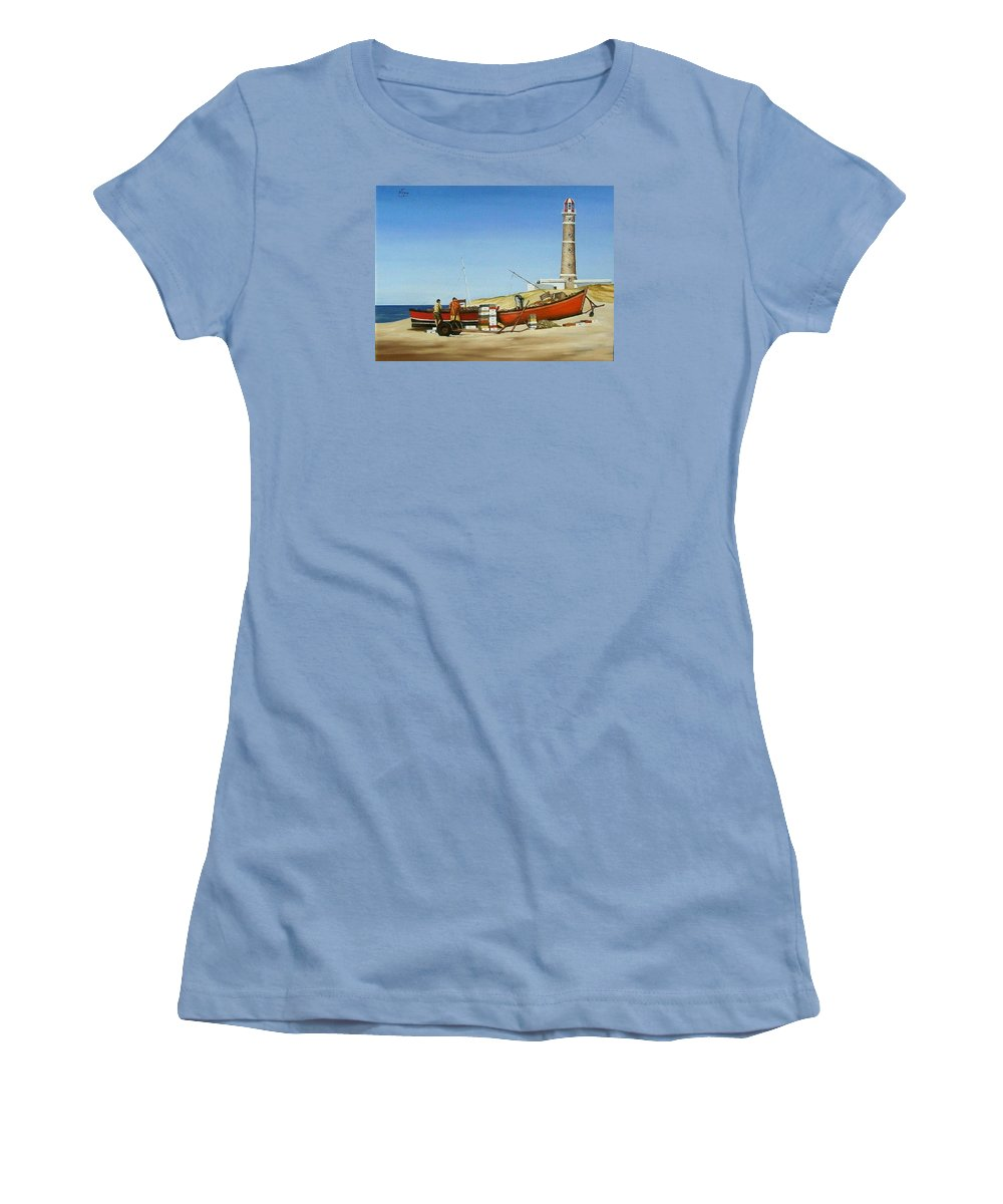 Lighthouse Fishermen Sea Seascape Women's T-Shirt (Athletic Fit) featuring the painting Fishermen By Lighthouse by Natalia Tejera
