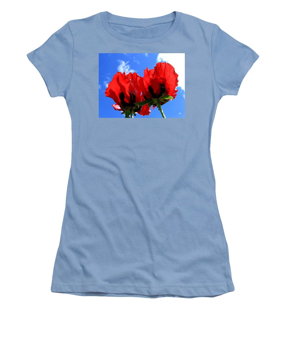 Blue Women's T-Shirt (Athletic Fit) featuring the photograph Flaming Skies by Will Borden