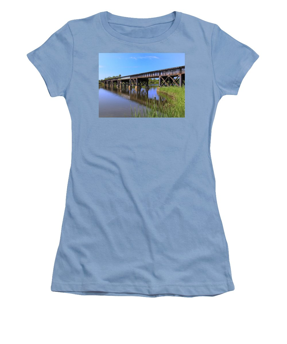 Florida; East Coast; Railroad; Railway; Track; Bridge; Trestle; Road; Roadbed; Bed; Ties; Engine; Lo Women's T-Shirt (Athletic Fit) featuring the photograph Florida East Coast Railroad Bridge by Allan Hughes