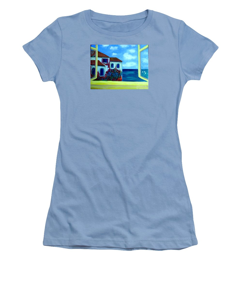 Seascape Women's T-Shirt (Athletic Fit) featuring the painting Fresh Sea Air by Laurie Morgan