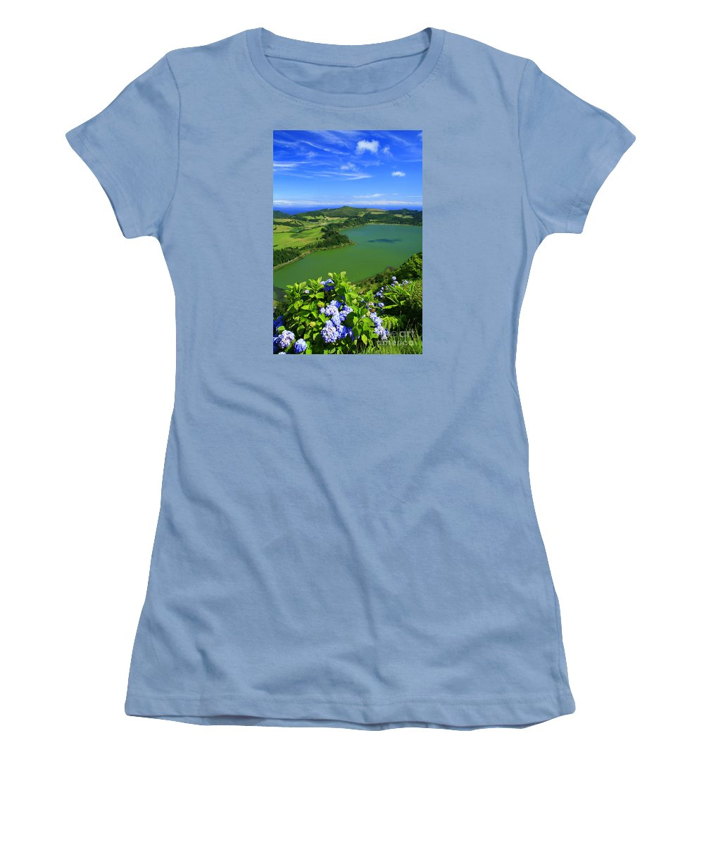 Azores Women's T-Shirt (Athletic Fit) featuring the photograph Furnas Lake by Gaspar Avila