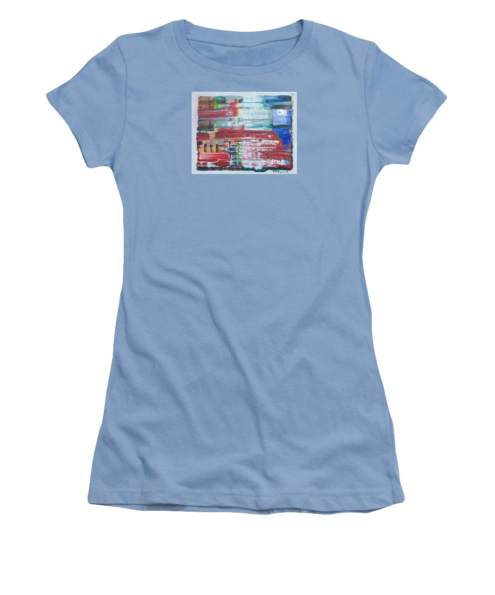Impressionism Women's T-Shirt (Athletic Fit) featuring the painting Glass Blocks by J R Seymour