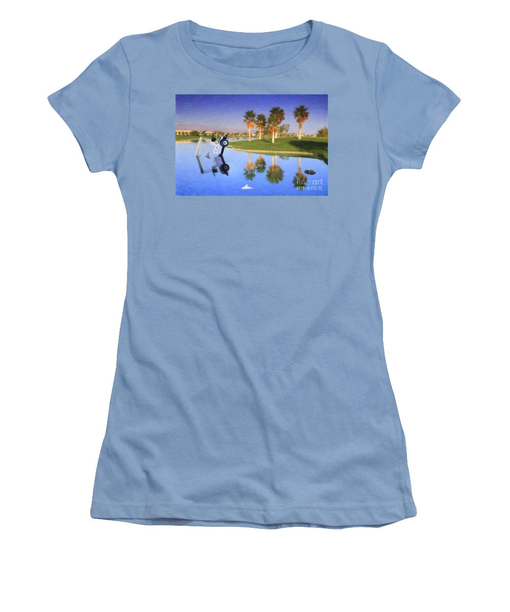 Golf Cart In Water Women's T-Shirt (Athletic Fit) featuring the photograph Golf Cart Stuck In Water by David Zanzinger