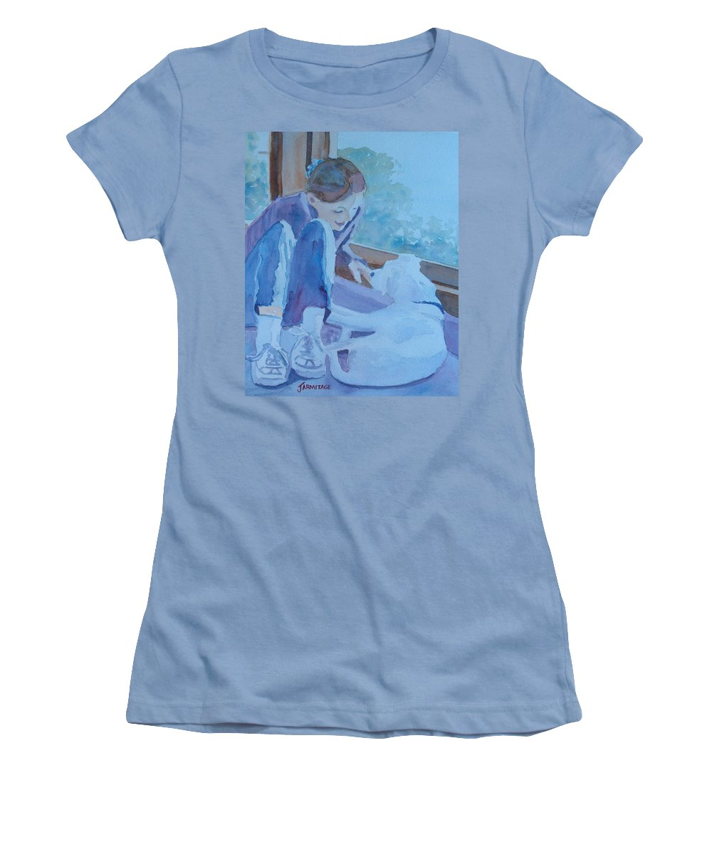 Girl Women's T-Shirt (Athletic Fit) featuring the painting Good Morning Puppy by Jenny Armitage
