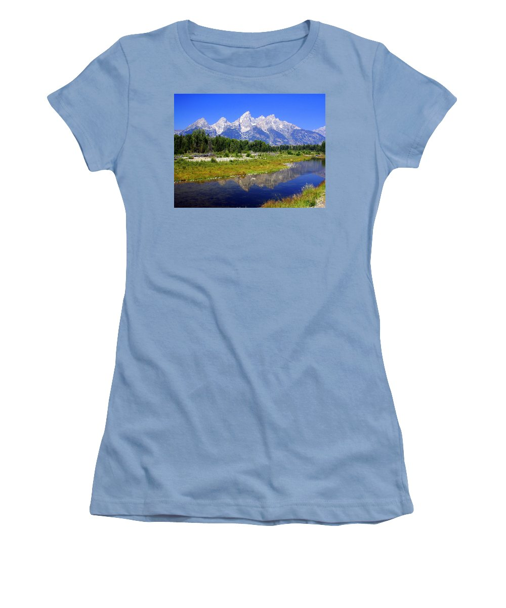 Grand Teton National Park Women's T-Shirt (Athletic Fit) featuring the photograph Grand Tetons by Marty Koch