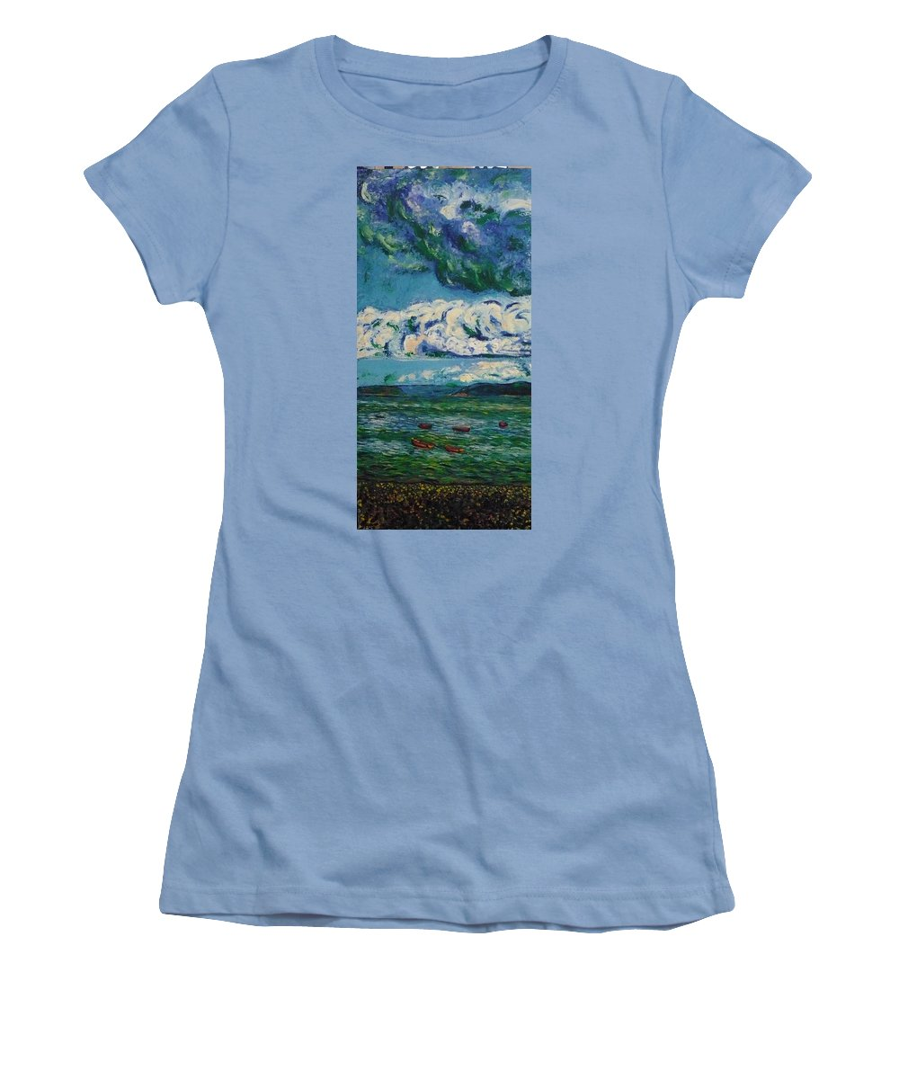 Landscape Women's T-Shirt (Athletic Fit) featuring the painting Green Beach by Ericka Herazo