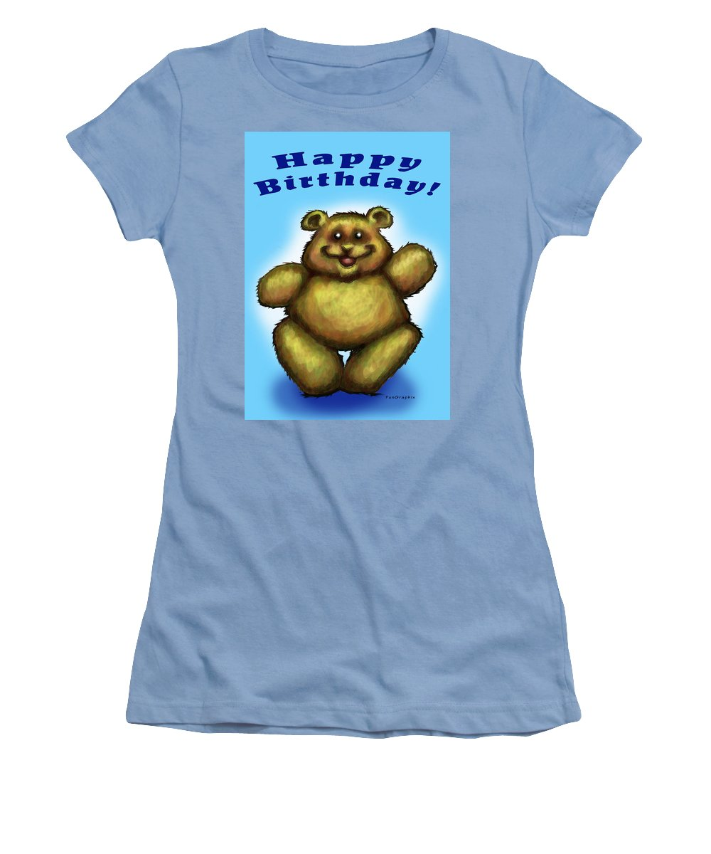 Happy Birthday Women's T-Shirt (Athletic Fit) featuring the greeting card Happy Birthday Bear by Kevin Middleton