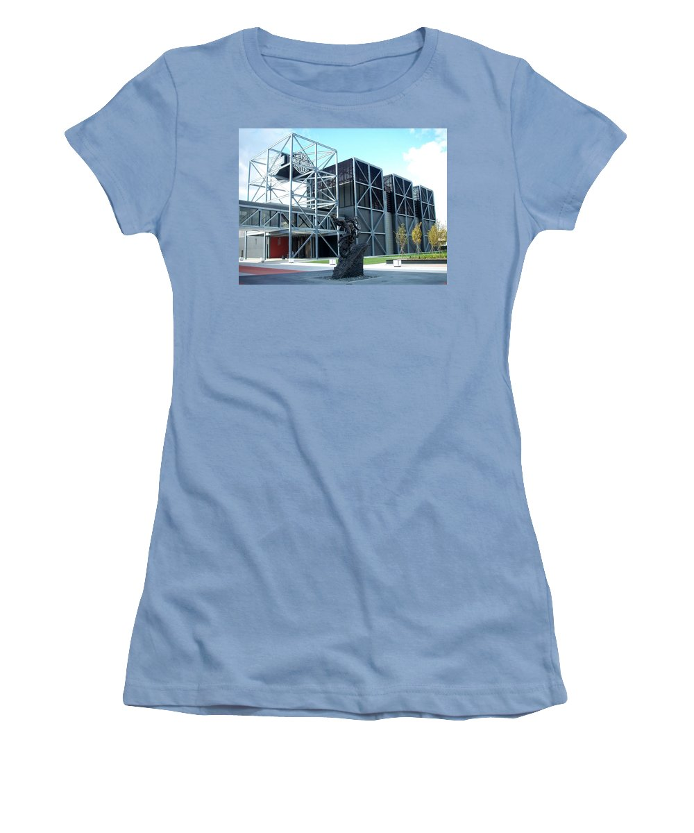 Architechture Women's T-Shirt (Athletic Fit) featuring the photograph Harley Museum And Statue by Anita Burgermeister