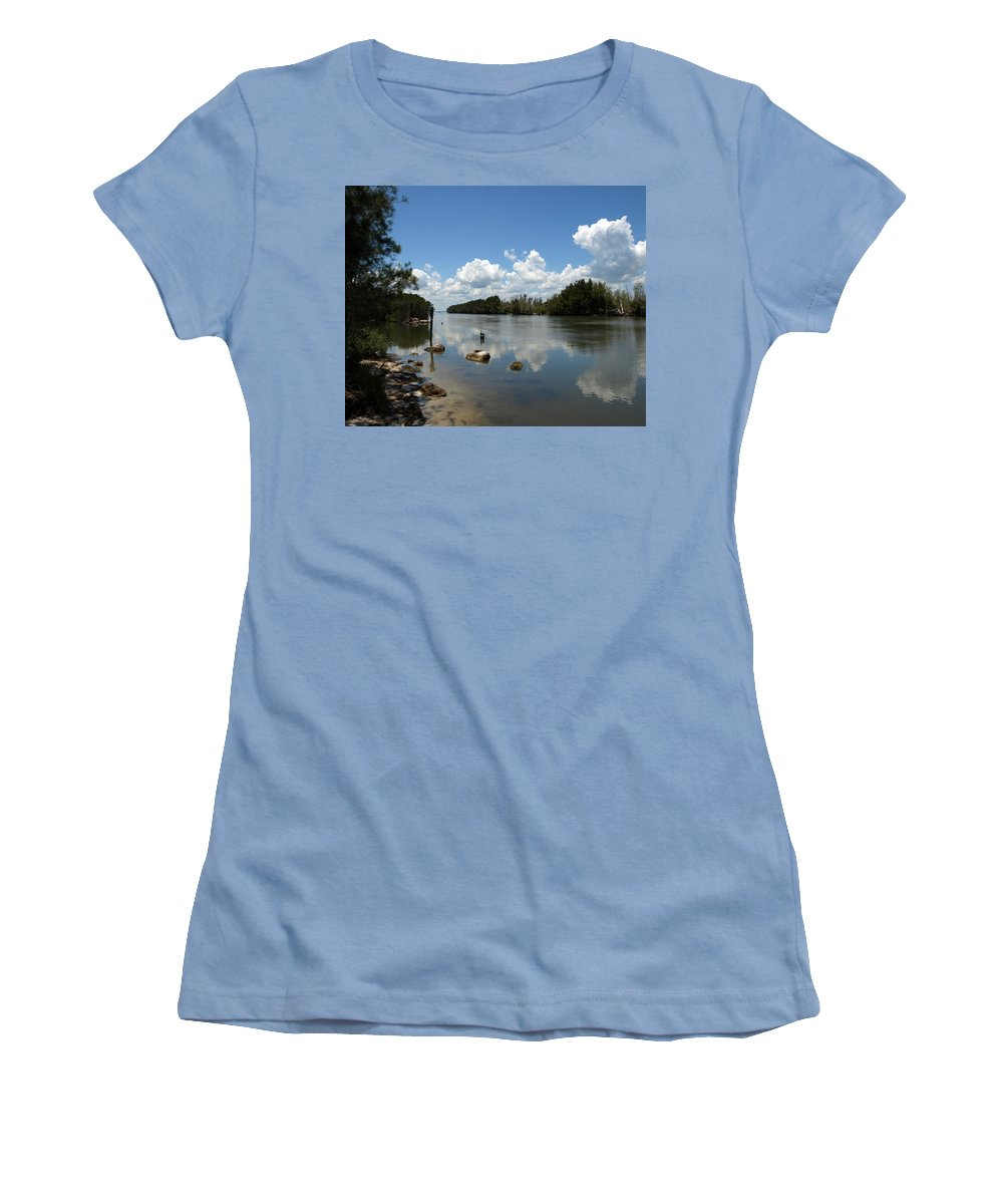 Eco-tourist; Ecotourist; Eco; Tourist; Kayak; Manatee; Sea; Cow; Ecology; Environment; Endangered; S Women's T-Shirt (Athletic Fit) featuring the photograph Haulover Canal On The Space Coast Of Florida by Allan Hughes