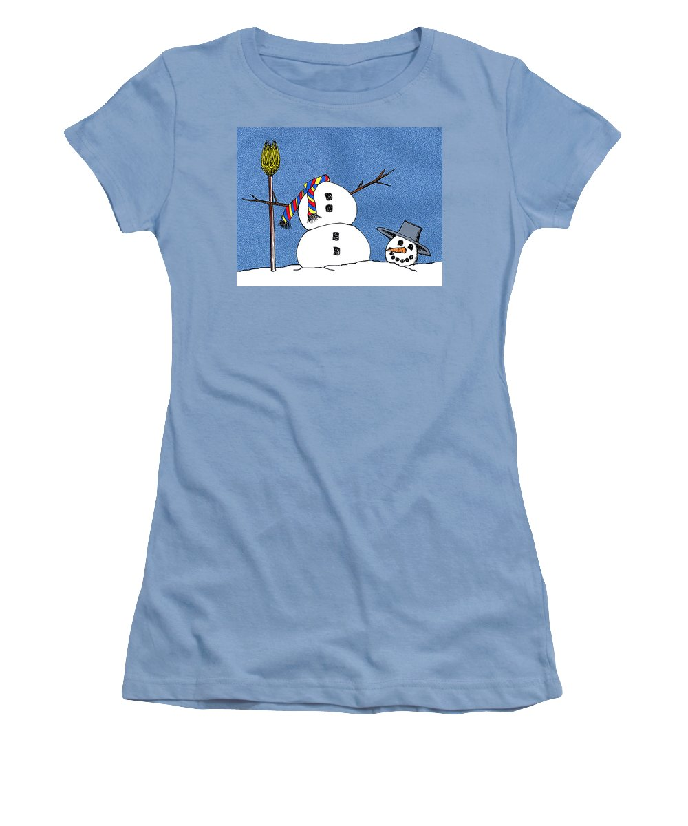 Snowman Women's T-Shirt (Athletic Fit) featuring the digital art Headless Snowman by Nancy Mueller