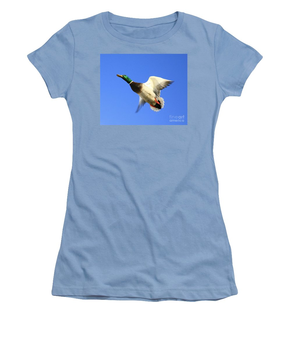 Duck Women's T-Shirt (Athletic Fit) featuring the photograph Heads Up by Robert Pearson