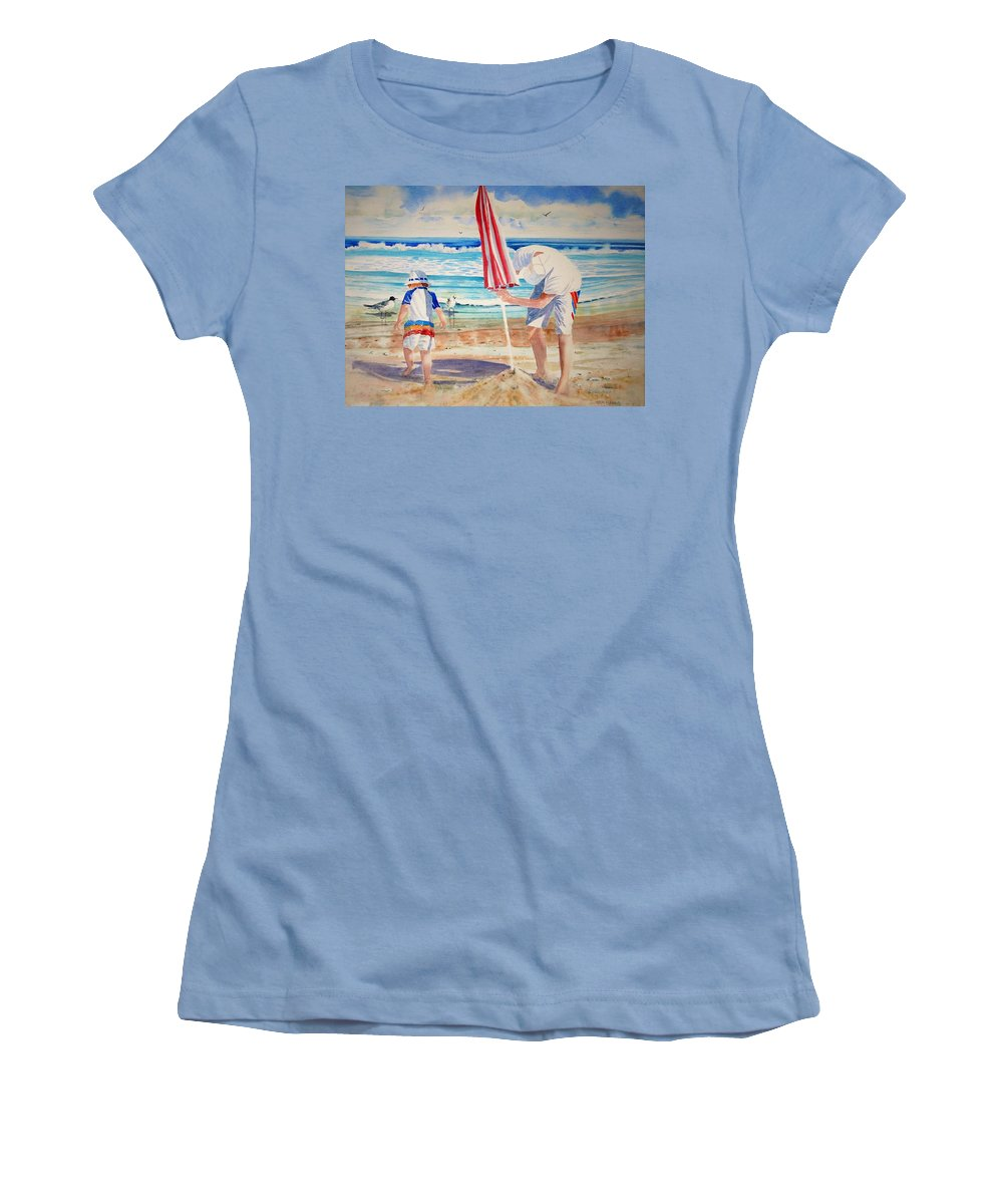 Beach Women's T-Shirt (Athletic Fit) featuring the painting Helping Dad Set Up The Camp by Tom Harris