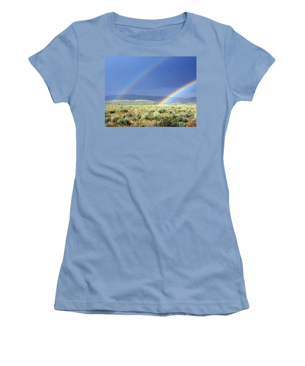 Rainbow Women's T-Shirt (Athletic Fit) featuring the photograph High Dessert Rainbow by Marty Koch