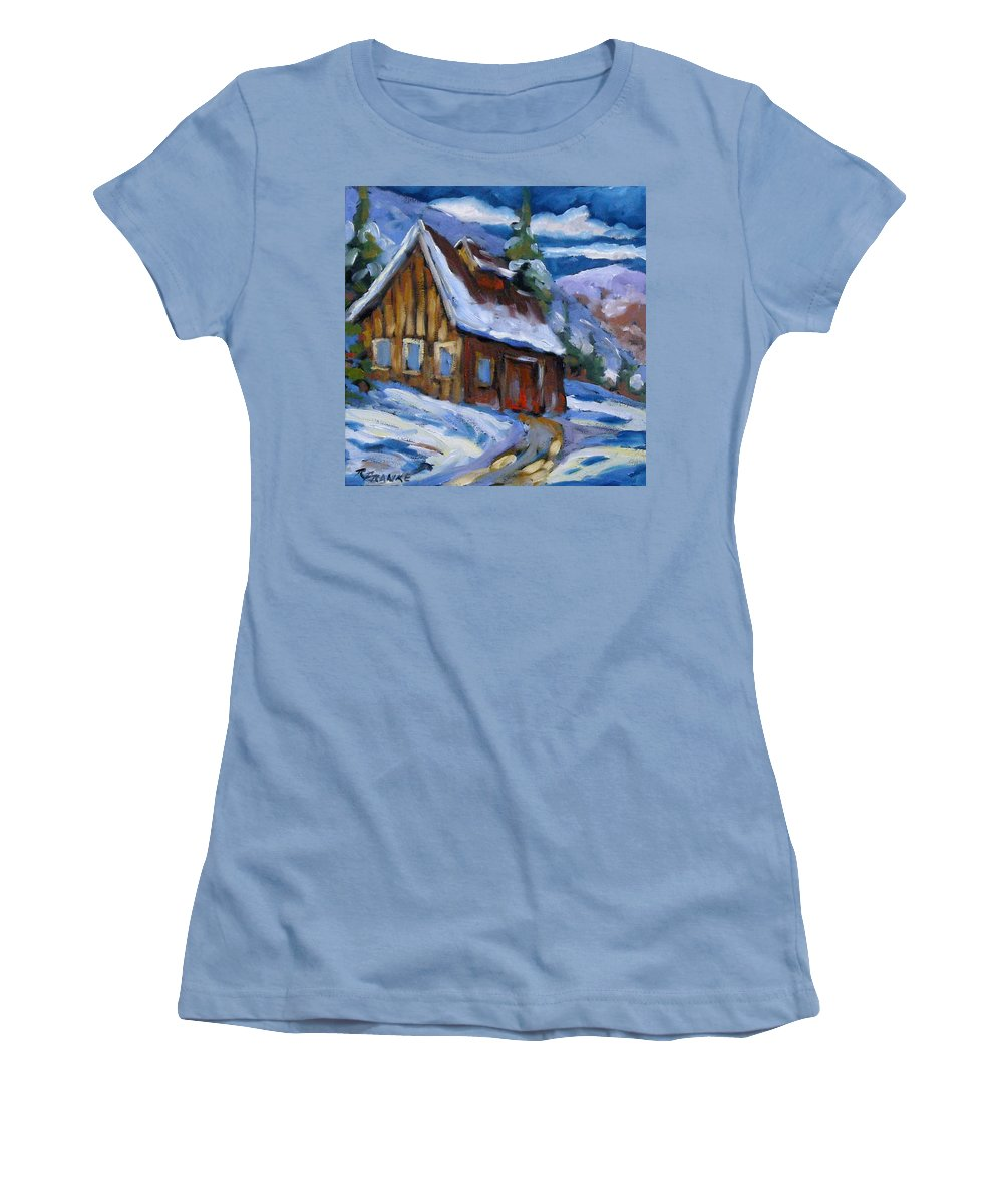Art Women's T-Shirt (Athletic Fit) featuring the painting Hillsidebarn In Winter by Richard T Pranke
