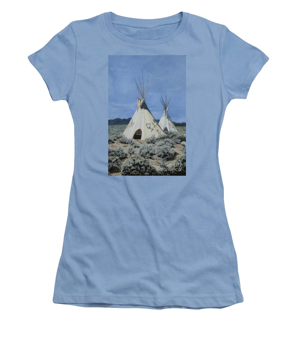 Art Women's T-Shirt (Athletic Fit) featuring the painting Home On The Range by Mary Rogers