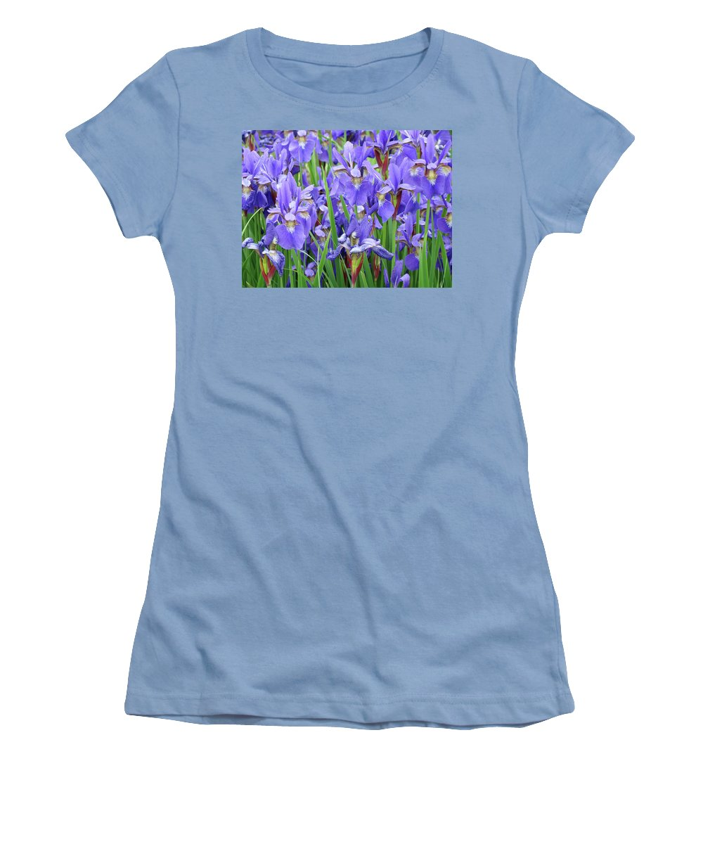 �irises Artwork� Women's T-Shirt (Athletic Fit) featuring the photograph Iris Flowers Artwork Purple Irises 9 Botanical Garden Floral Art Baslee Troutman by Baslee Troutman