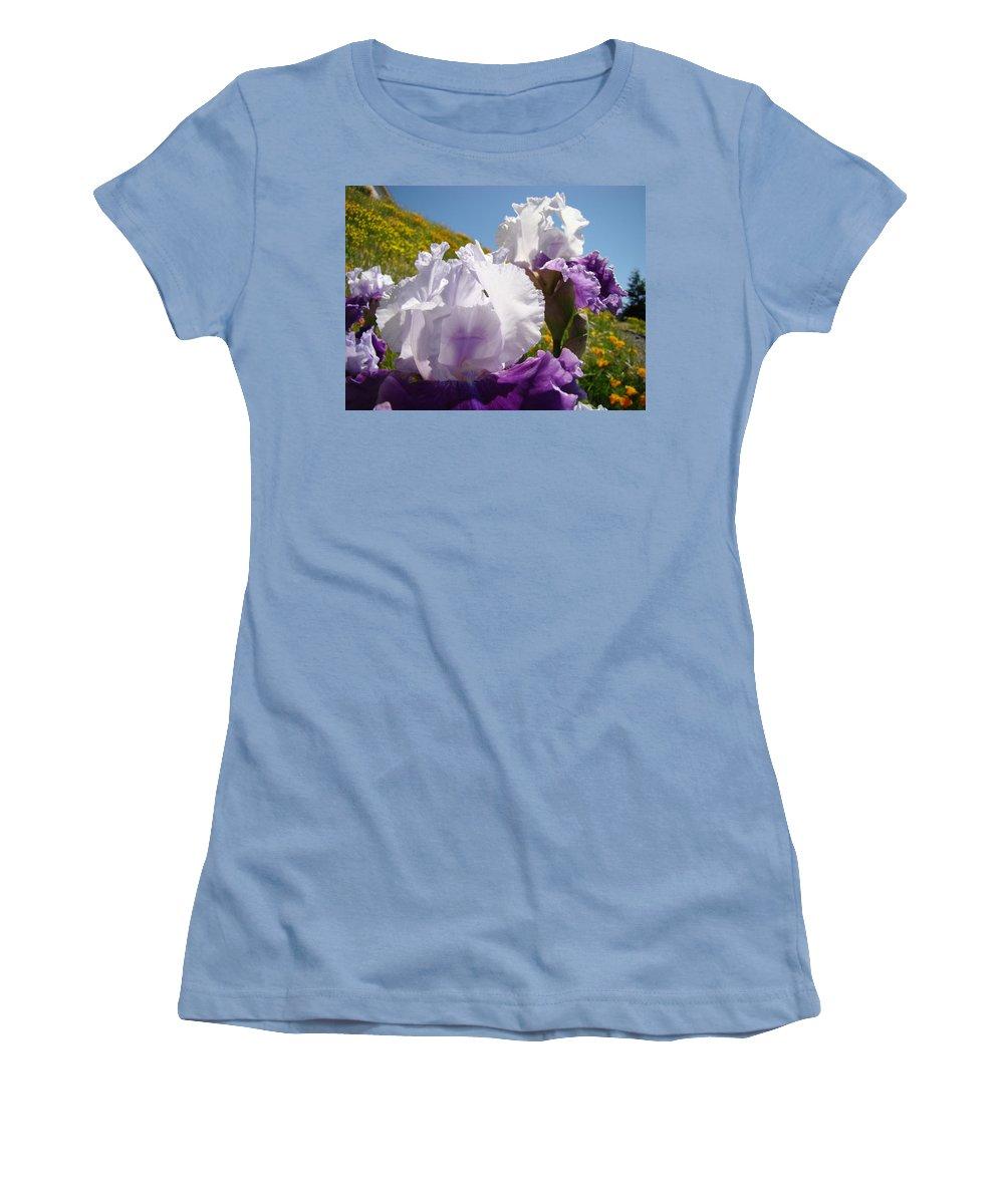 �irises Artwork� Women's T-Shirt (Athletic Fit) featuring the photograph Iris Flowers Purple White Irises Poppy Hillside Landscape Art Prints Baslee Troutman by Baslee Troutman