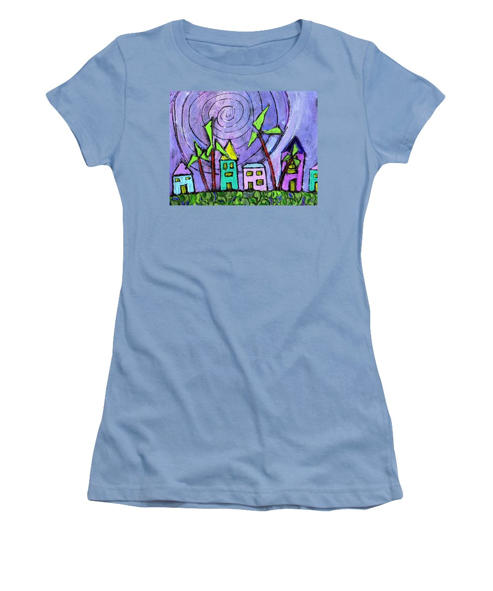 Island Women's T-Shirt (Athletic Fit) featuring the painting Island Dreams by Wayne Potrafka