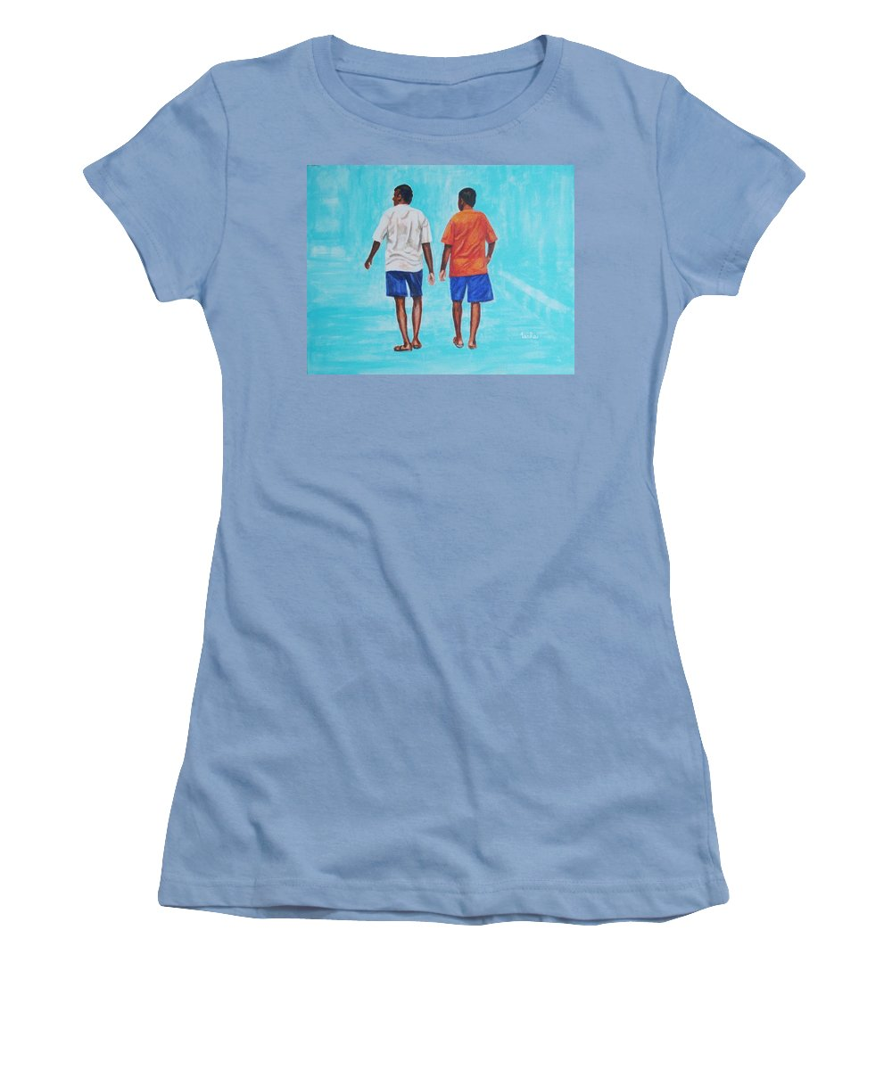 Women's T-Shirt (Athletic Fit) featuring the painting Jay Walkers by Usha Shantharam