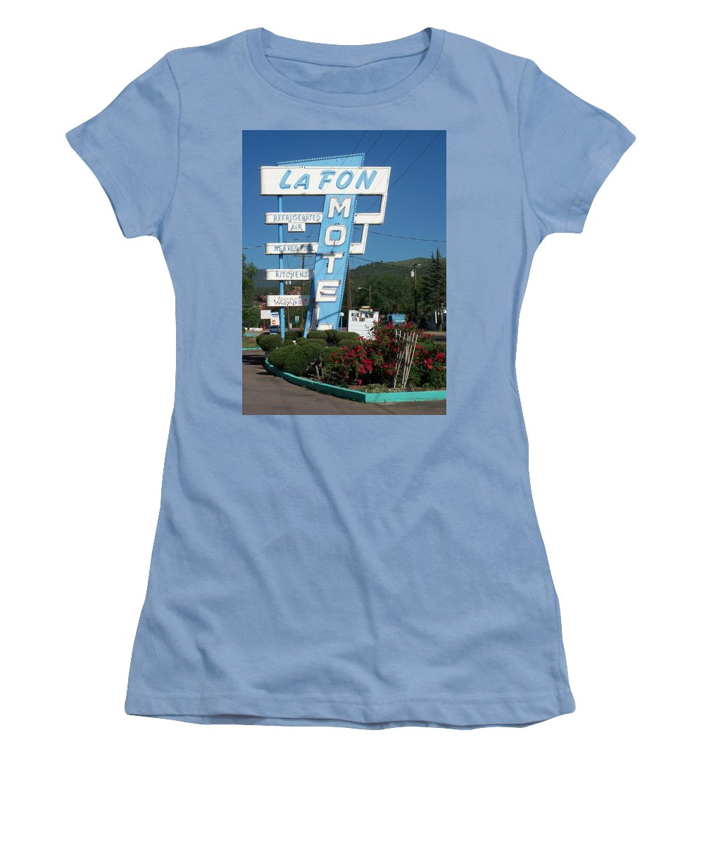 Vintage Motel Signs Women's T-Shirt (Athletic Fit) featuring the photograph Lafon Motel by Anita Burgermeister
