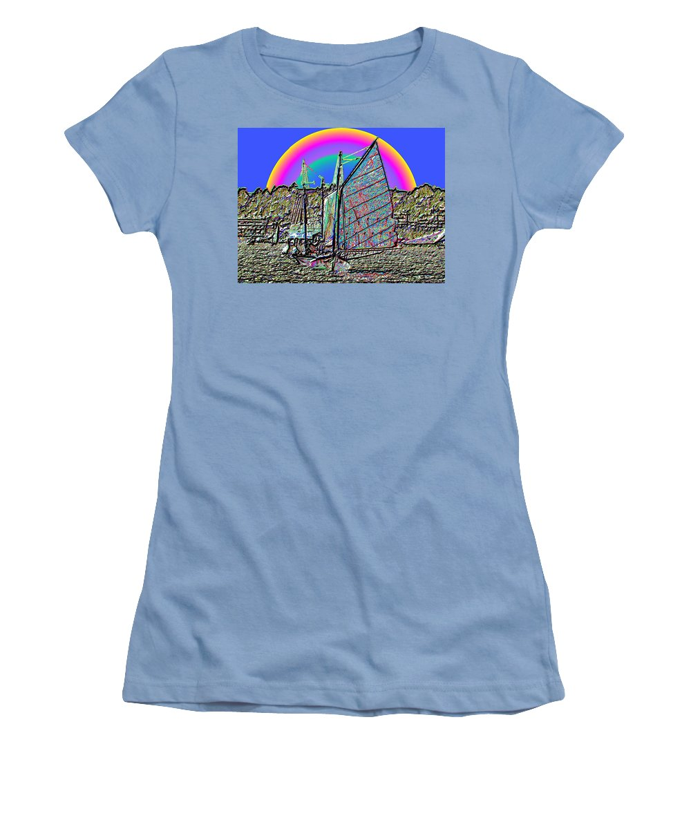 Seattle Women's T-Shirt (Athletic Fit) featuring the photograph Lake Union Rainbow Sail by Tim Allen