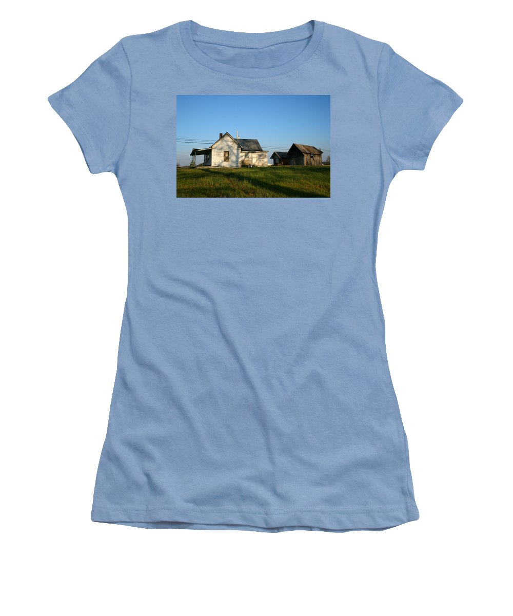 Old House Barn Life Past Age Forgotten Forget Time Left Leave Blue Green White Kentucky Ky Country Women's T-Shirt (Athletic Fit) featuring the photograph Life Behind by Andrei Shliakhau