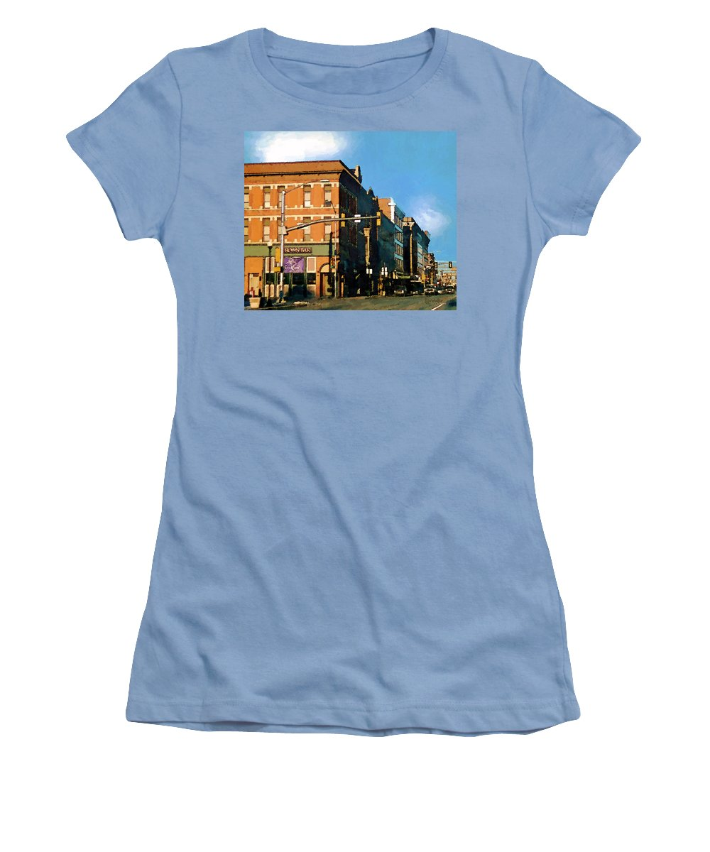 Buildings Women's T-Shirt (Athletic Fit) featuring the painting Looking Up Main Street by RC deWinter