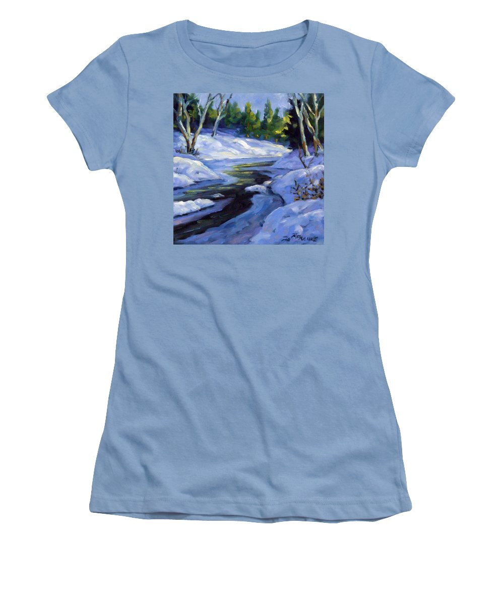 Art Women's T-Shirt (Athletic Fit) featuring the painting Luminous Snow by Richard T Pranke