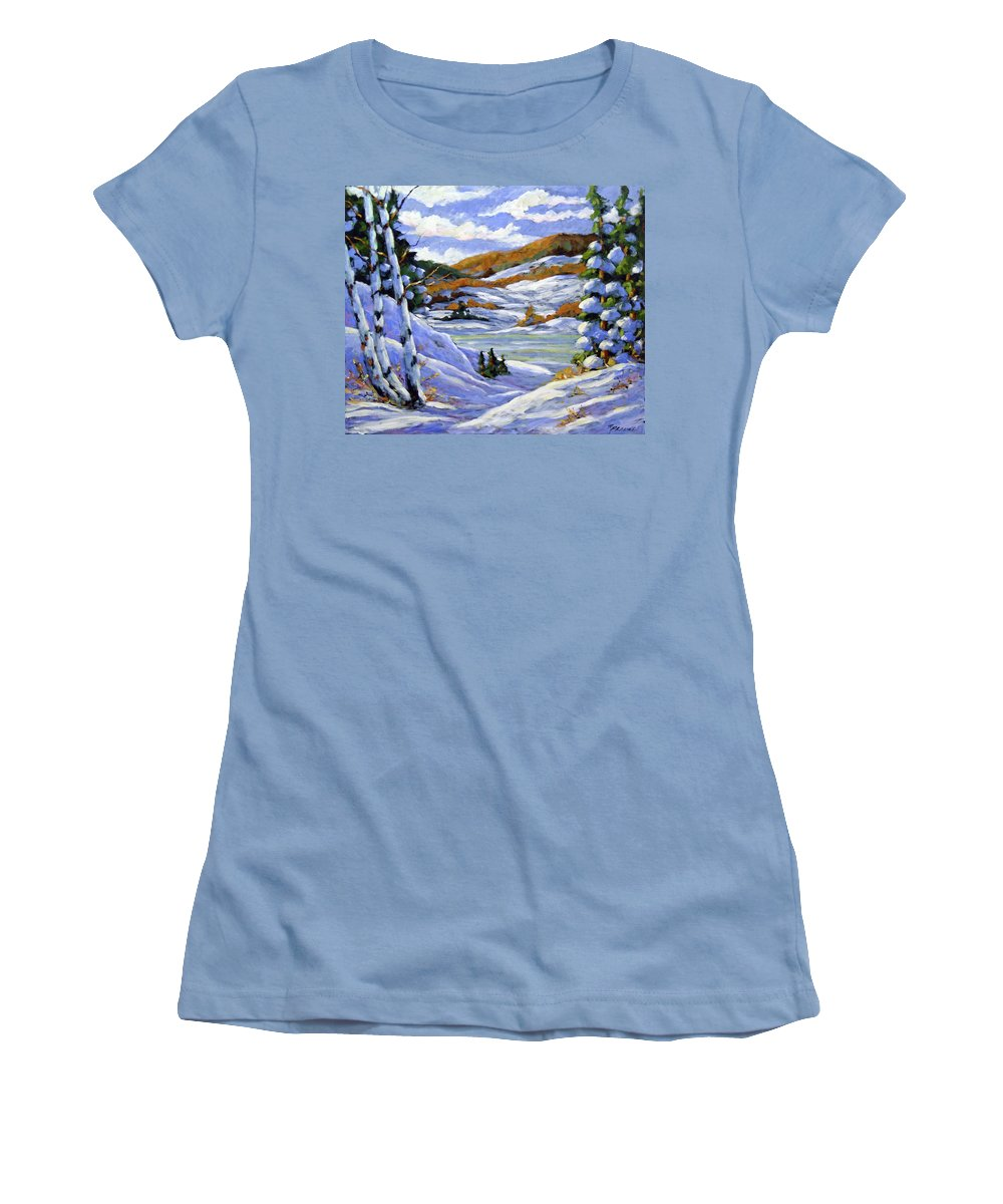 Art Women's T-Shirt (Athletic Fit) featuring the painting Majestic Winter by Richard T Pranke