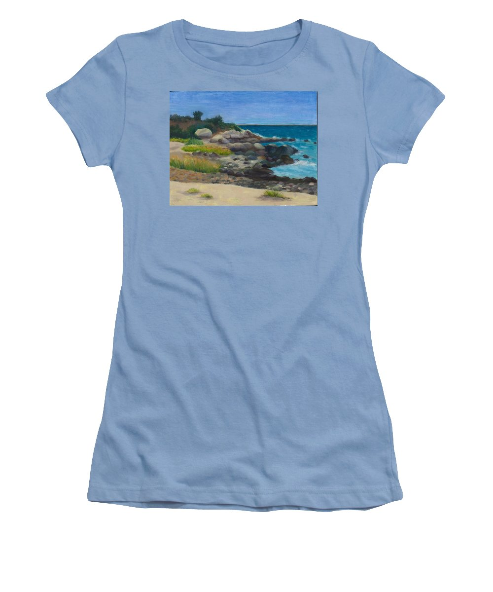 Landscape Women's T-Shirt (Athletic Fit) featuring the painting Meigs Point by Paula Emery