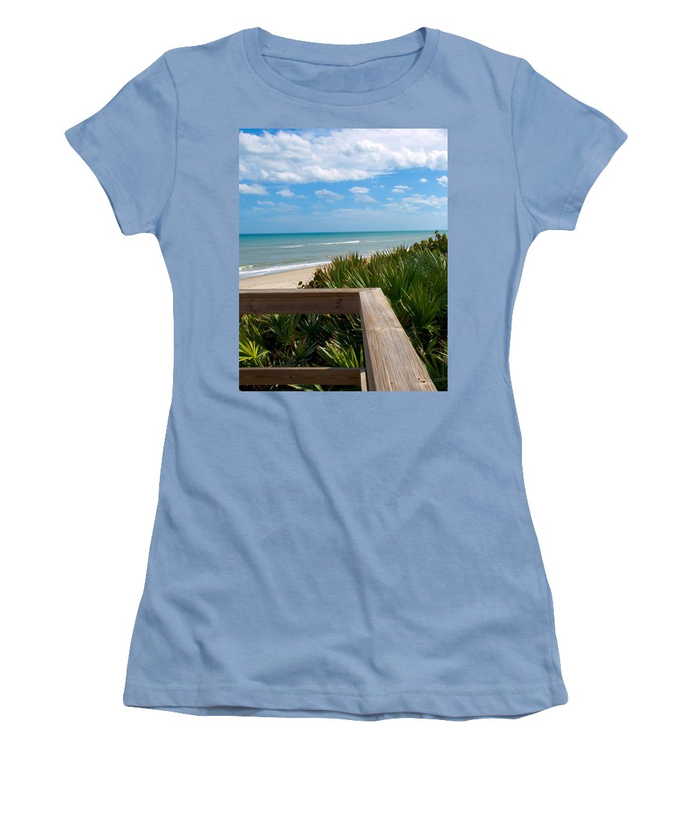 Beach; February; Florida; Warm; Warmth; Temperature; Degrees; Weather; Sun; Melbourne; Sand; Shore; Women's T-Shirt (Athletic Fit) featuring the photograph Melbourne Beach In Florida by Allan Hughes