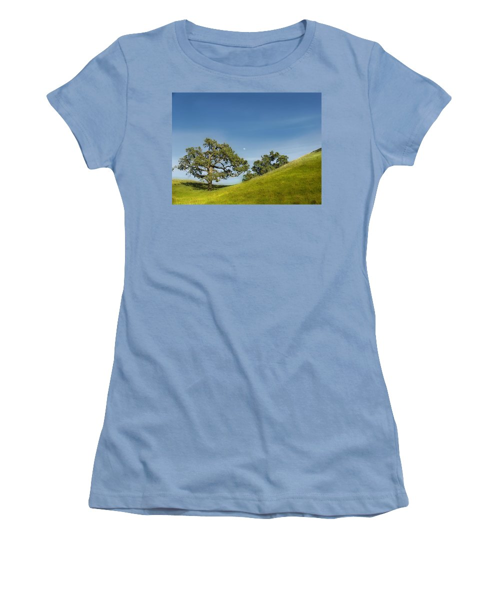 Landscape Women's T-Shirt (Athletic Fit) featuring the photograph Moon Rising by Karen W Meyer