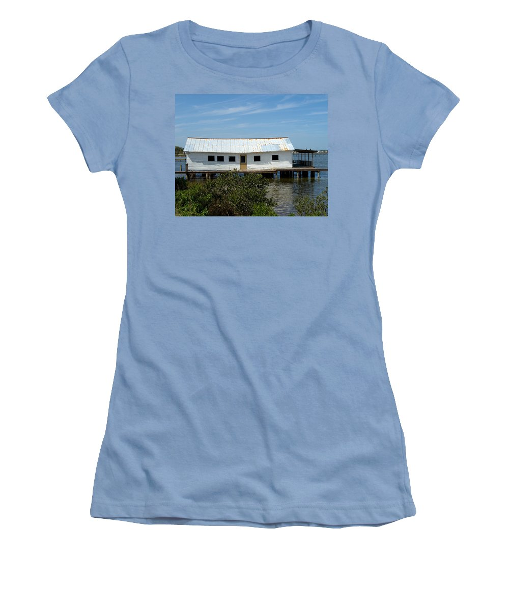 Florida; Oak; Hill; Mosquito; Lagoon; Old; Abandoned; Fish; House; Processing; Dock; Pier; Wharf; Bo Women's T-Shirt (Athletic Fit) featuring the photograph Mosquito Lagoon Florida by Allan Hughes