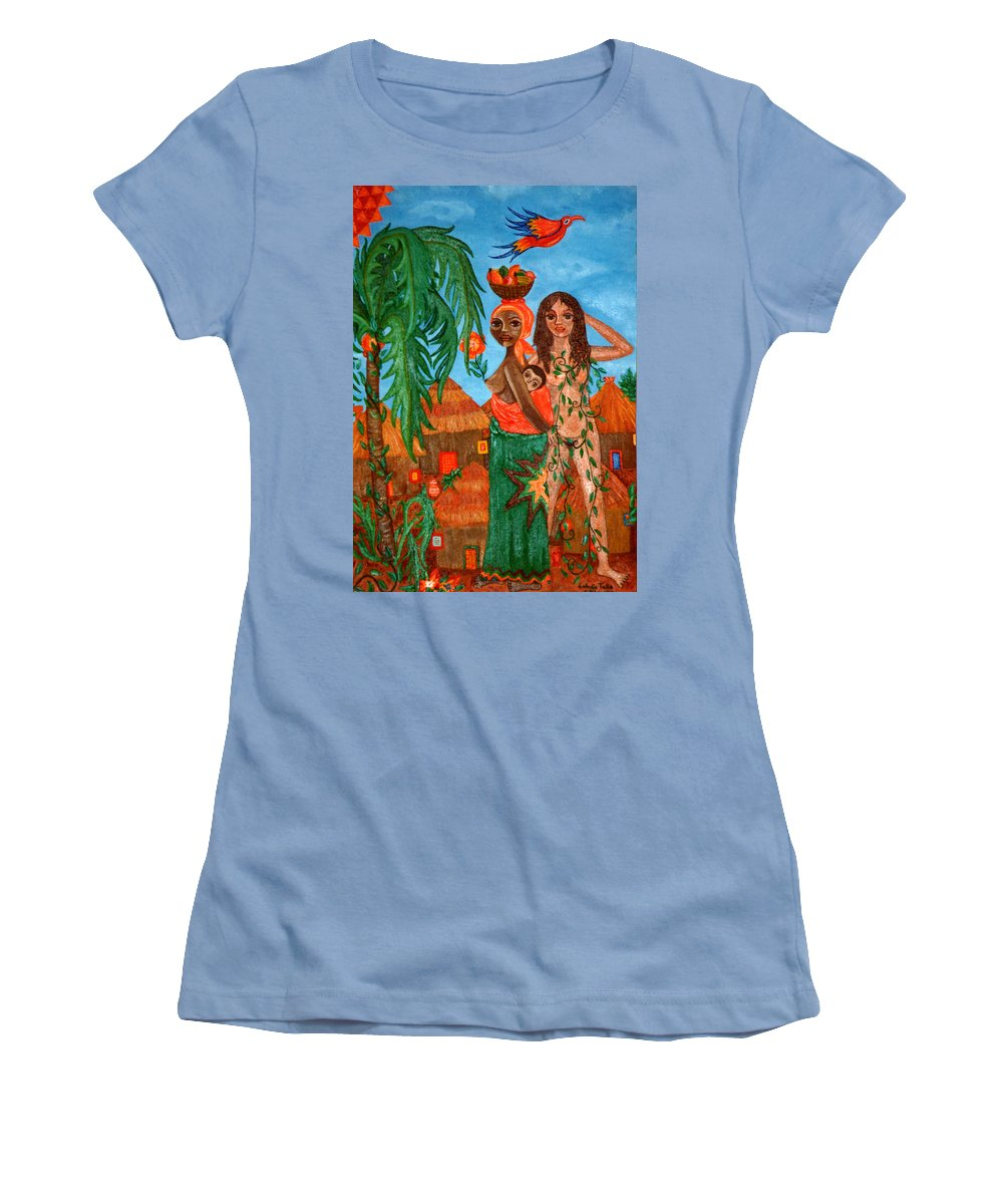 Mother Women's T-Shirt (Athletic Fit) featuring the painting Mother Black Mother White by Madalena Lobao-Tello