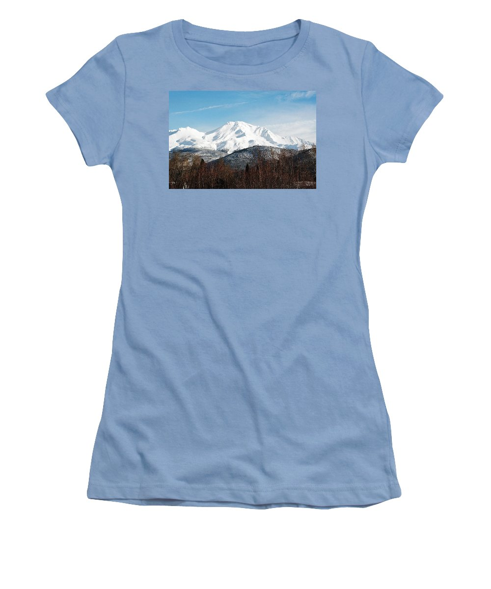Mount Shasta Women's T-Shirt (Athletic Fit) featuring the photograph Mount Shasta by Anthony Jones