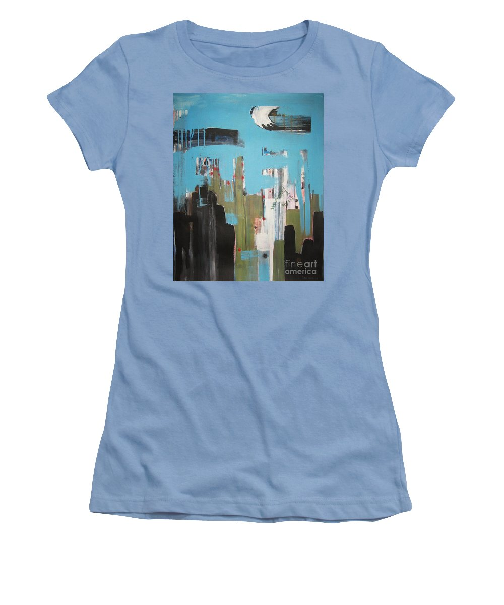 Abstract Paintings Women's T-Shirt (Athletic Fit) featuring the painting Neglected Area by Seon-Jeong Kim