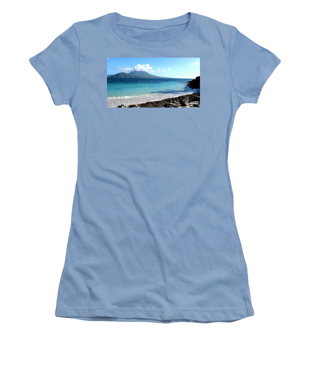 Nevis Women's T-Shirt (Athletic Fit) featuring the photograph Nevis Across The Channel by Ian MacDonald