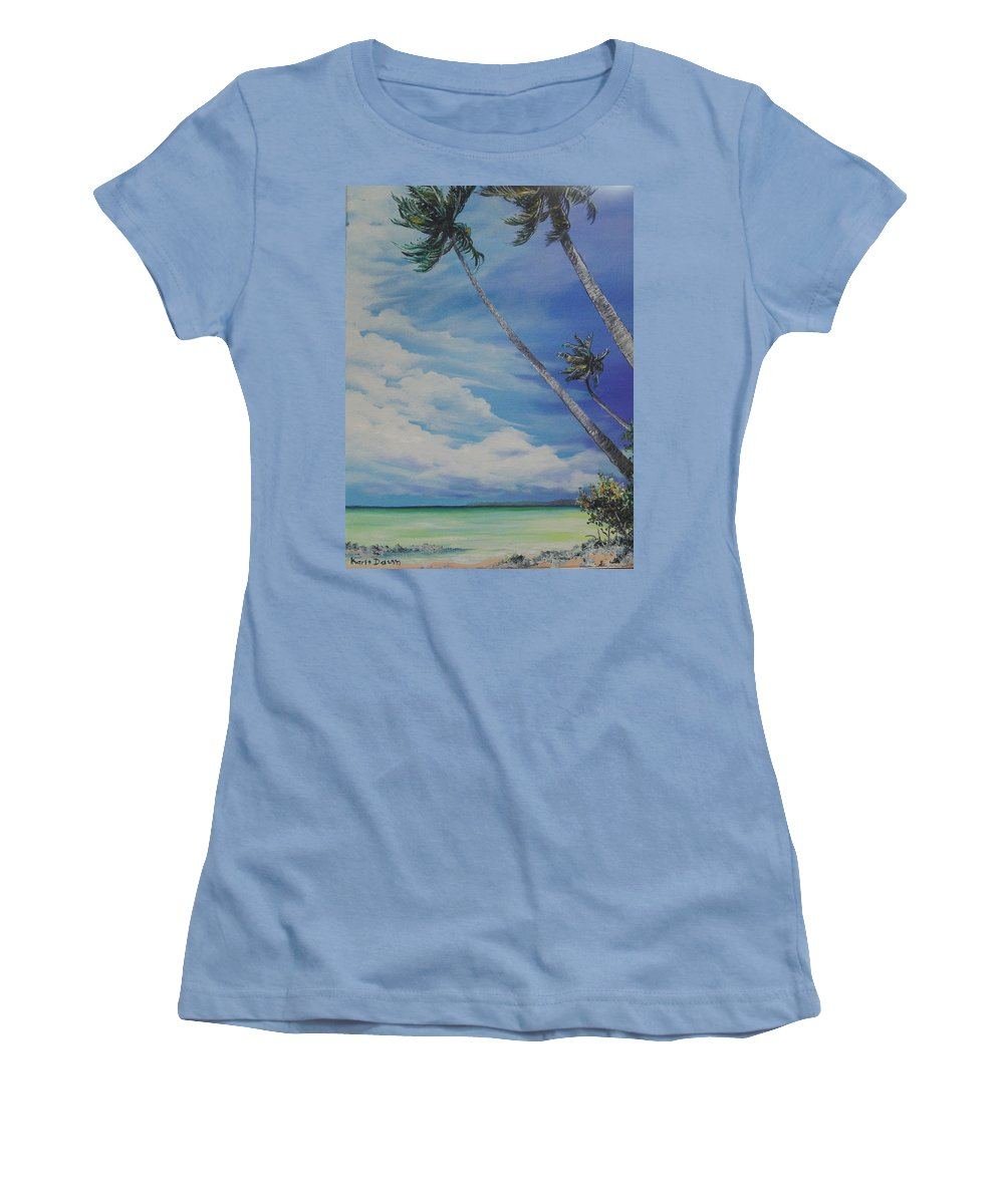 Ocean Painting Seascape Painting Beach Painting Palm Tree Painting Clouds Painting Tobago Painting Caribbean Painting Sea Beach T Obago Palm Trees Women's T-Shirt (Athletic Fit) featuring the painting Nylon Pool Tobago. by Karin Dawn Kelshall- Best