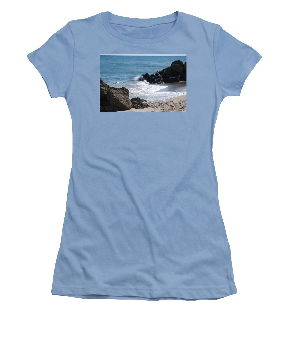 Sea Scape Women's T-Shirt (Athletic Fit) featuring the photograph Ocean Rocks by Rob Hans