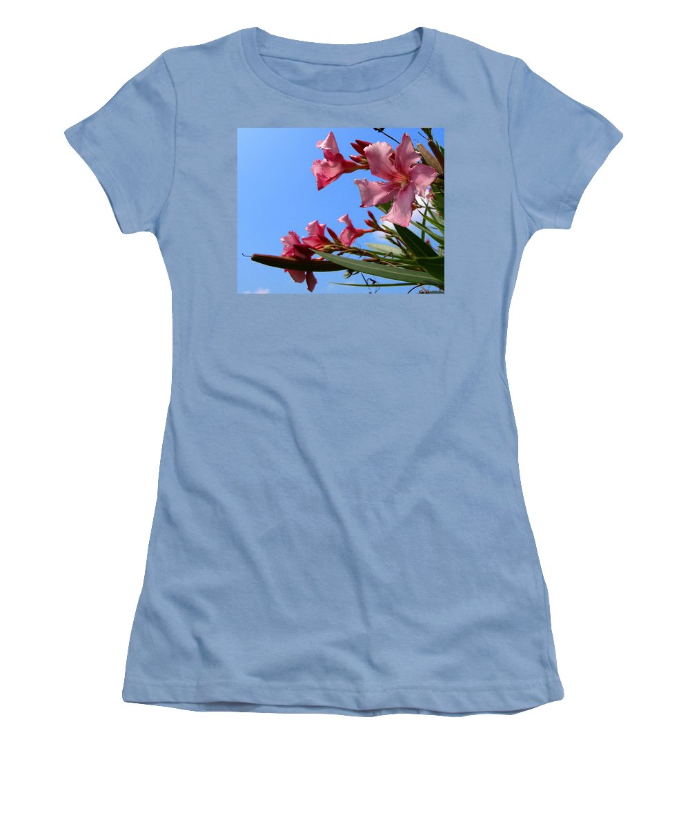 Flower; Florida; Oleander; Purple; Pink; Lavander; Sky; Blue; Clouds; Drought; Leaves; Green; South; Women's T-Shirt (Athletic Fit) featuring the photograph Oleander Flowers Wilting In The Brutal Florida Sun by Allan Hughes