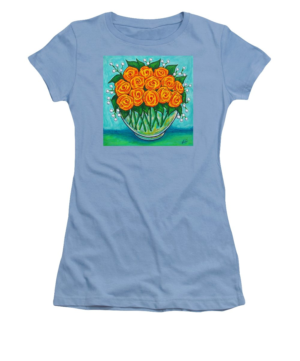 Orange Women's T-Shirt (Athletic Fit) featuring the painting Orange Passion by Lisa Lorenz