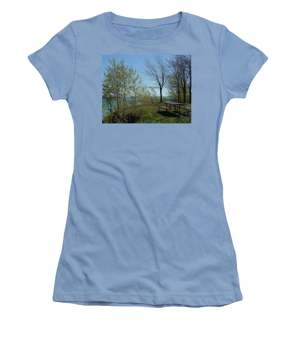 Lake View Women's T-Shirt (Athletic Fit) featuring the photograph Picnic Table By The Lake Photo by Anita Burgermeister
