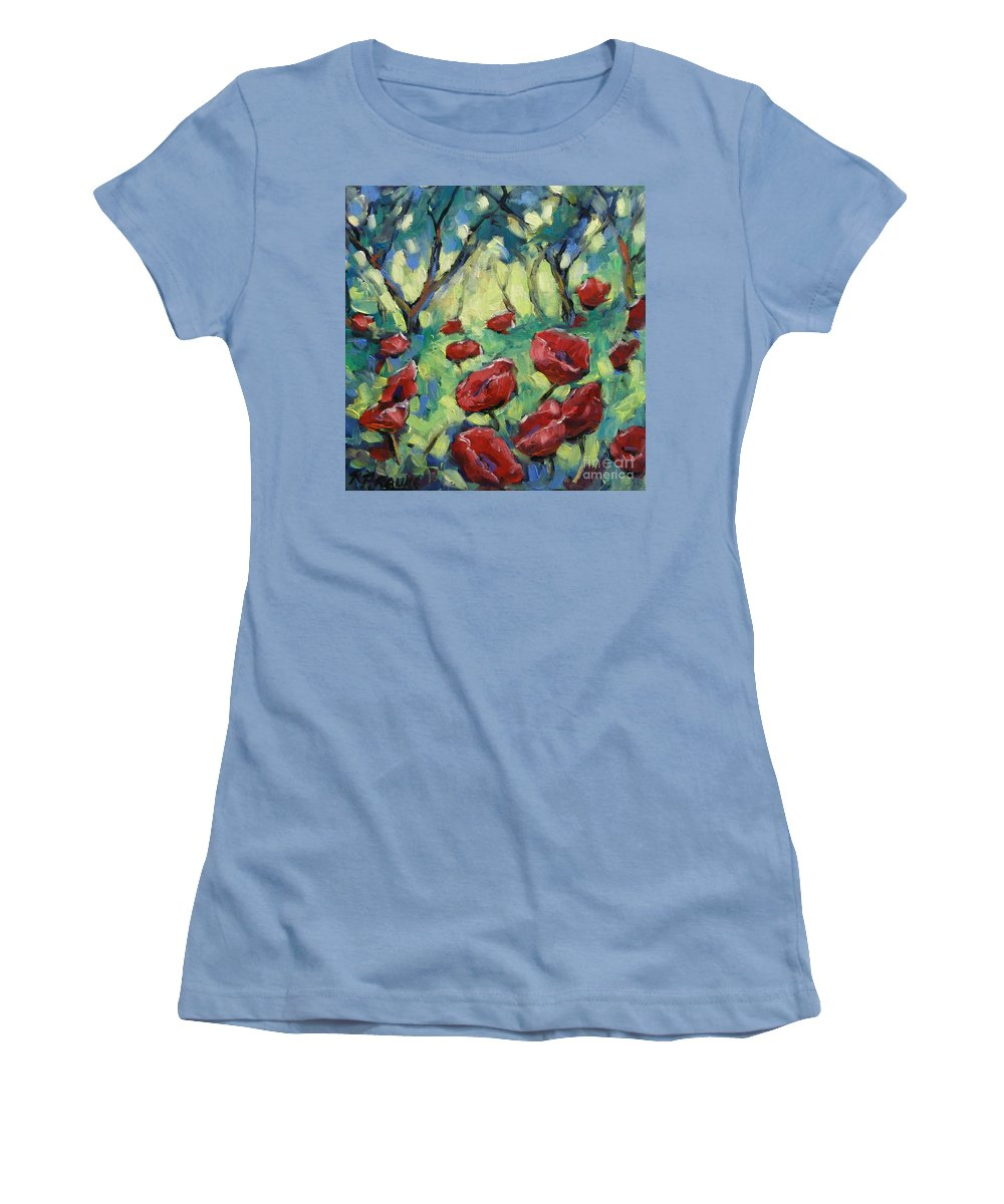 Art Women's T-Shirt (Athletic Fit) featuring the painting Poppies Through The Forest by Richard T Pranke