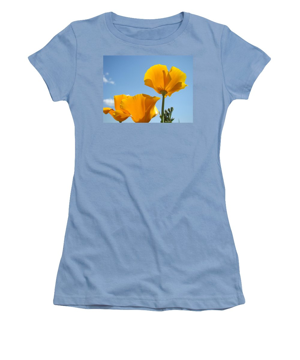 �poppies Artwork� Women's T-Shirt (Athletic Fit) featuring the photograph Poppy Landscape Poppies Flowers Blue Sky 12 Baslee Troutman by Baslee Troutman