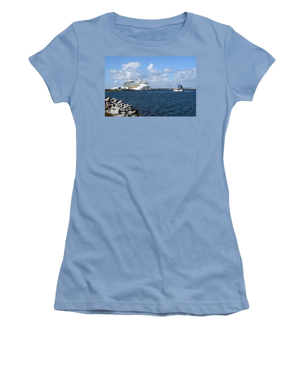 Cruise; Ships; Cruiseship; Ocean; Liner; Oceanliner; Port; Canaveral; Florida; Harbor; Harbour; Blue Women's T-Shirt (Athletic Fit) featuring the photograph Port Canaveral In Floirda by Allan Hughes