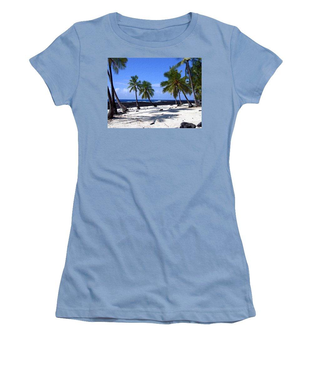 Hawaii Women's T-Shirt (Athletic Fit) featuring the photograph Pu Uhonua O Honaunau by Kurt Van Wagner