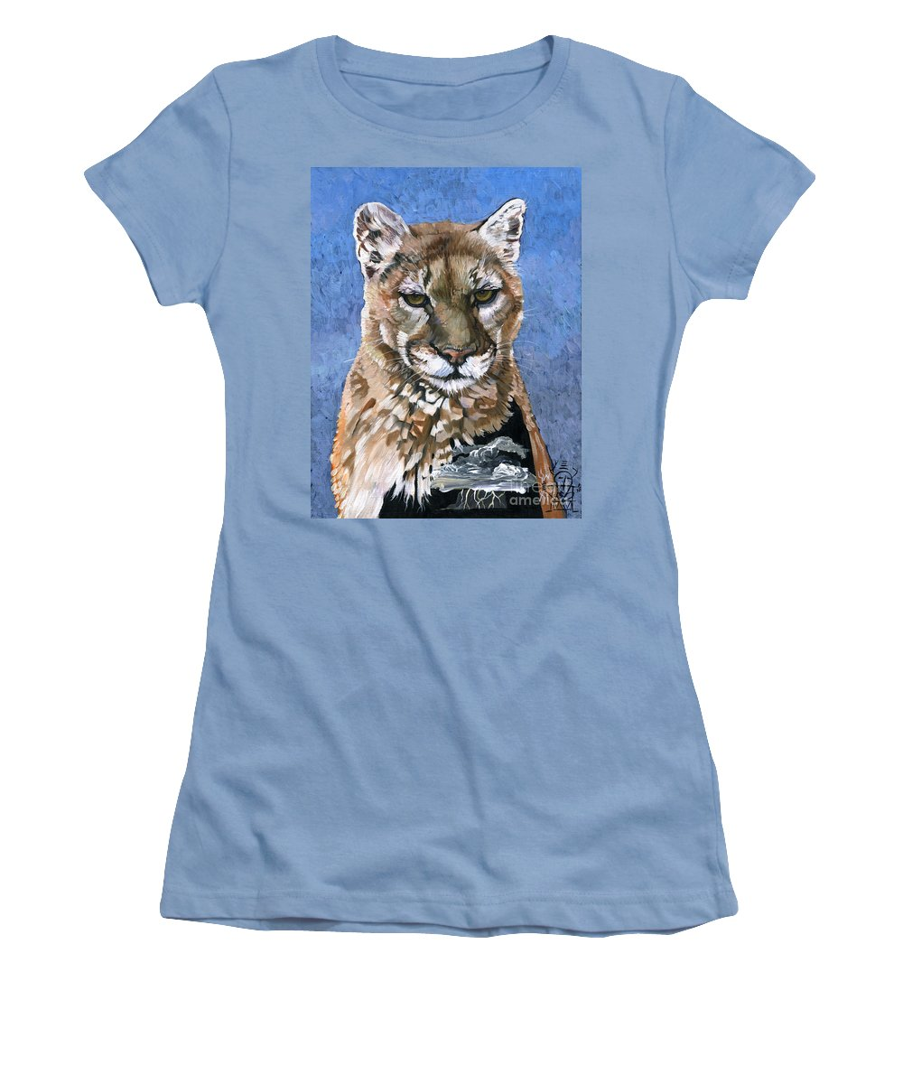 Puma Women's T-Shirt (Athletic Fit) featuring the painting Puma - The Hunter by J W Baker