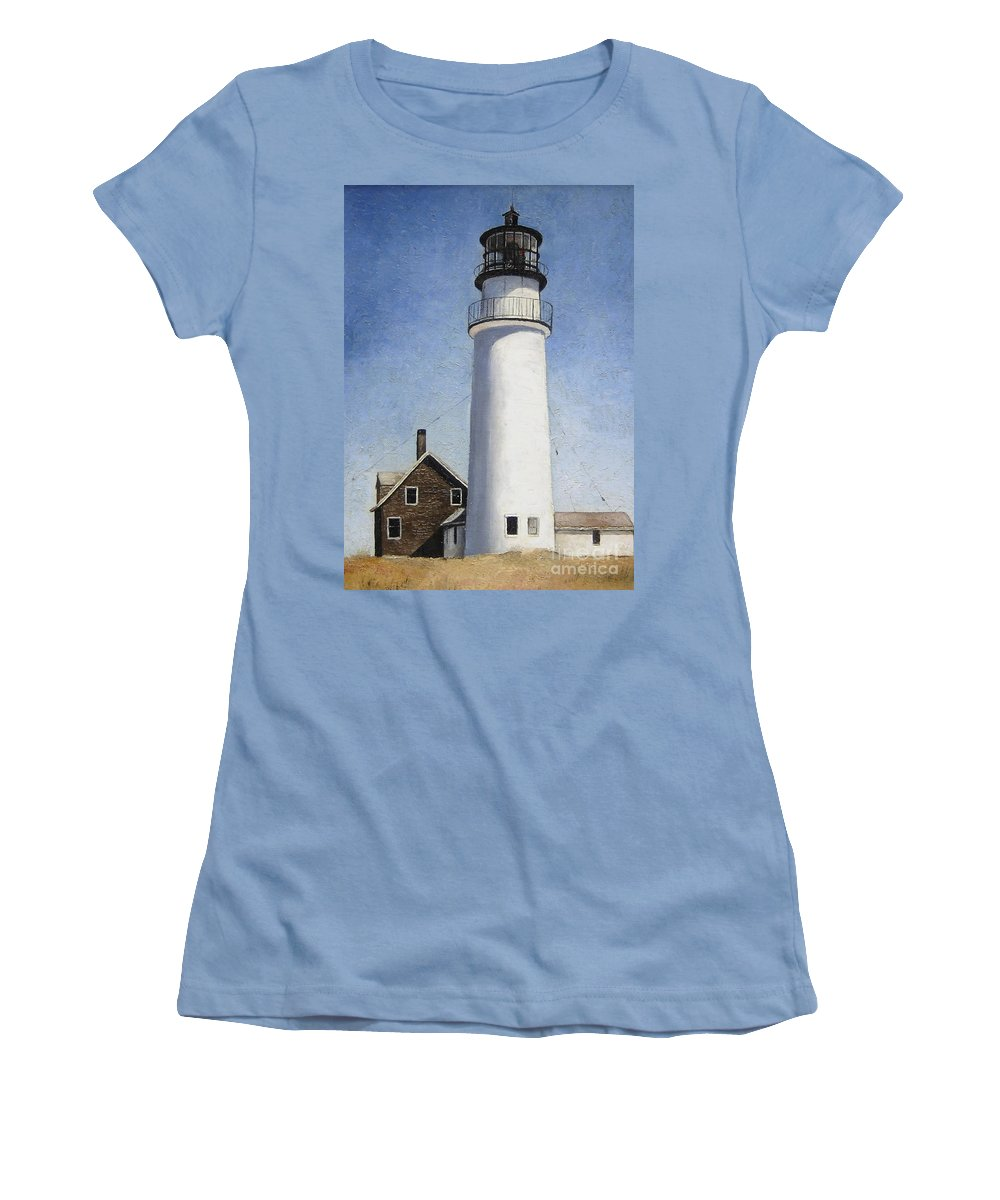 Lighthouse Women's T-Shirt (Athletic Fit) featuring the painting Rhode Island Lighthouse by Mary Rogers