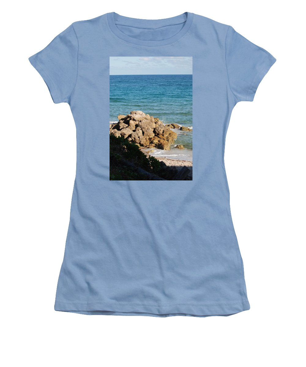 Sea Scape Women's T-Shirt (Athletic Fit) featuring the photograph Rocky Shoreline by Rob Hans